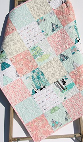 Panda Baby Girl Quilt Bamboo Arrows Pastel Shabby Chic Crib Bedding Nursery Coral Pink Blue Toddler Bed Quilt by Kristin Blandford Designs