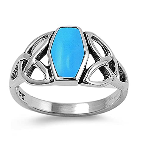 Shaped Simulated Turquoise Stone Wicca Triquetra Coffin Ring Sterling Silver Size 9 (Sterling Silver Coffin Ring)