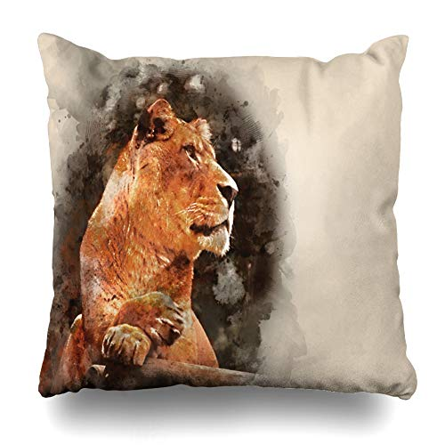 Ahawoso Throw Pillow Cover Gold Brown African Digital Watercolour Painting Lioness Watercolor Artistic Asian Design Home Decor Pillowcase Square Size 16 x 16 Inches Zippered Cushion Case