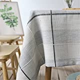 kitchen 67 brunch Azerlee Checkered Tablecloth Cotton Linen Dust-proof Table Cover for Kitchen Dinning Tabletop Decoration,47 X 67 Inch