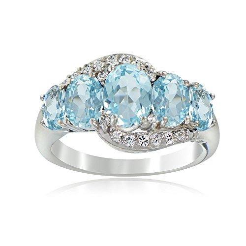 Sterling Silver Blue Topaz & White Topaz 5-Stone Ring, 10 ()
