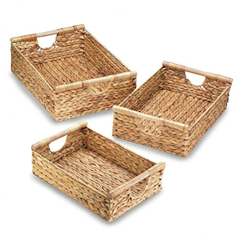 Wicker Storage Baskets, Small Medium And Big Rectangle Straw (set Of 3)