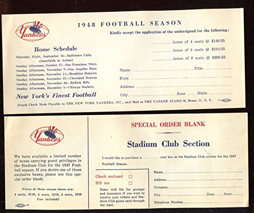 - 1947 & 1948 New York Yankees Football Season Ticket Order Forms 2 Different