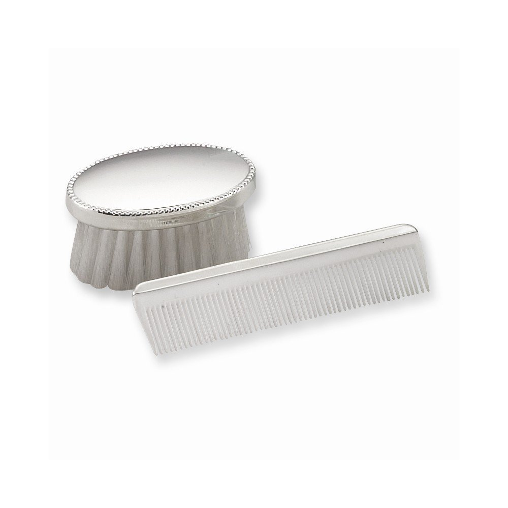 Sterling Silver Gift Boxed Boys Comb and Brush Set