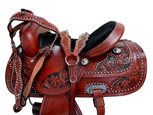 OAK TOOLED BROWN LEATHER BACK REAR CINCH FLANK WESTERN HORSE GIRTH TRAIL TACK