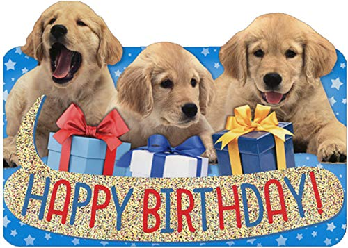 Paper House Row of Birthday Lab Puppies Die Cut Foil Birthday Card for Kids