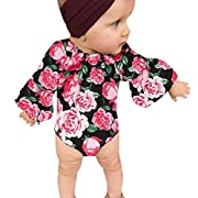 Dinlong Baby Girls Clothes Long Romper Flower Print Jumpsuit + Headband Outfits (0-6 Month, Multicolor)