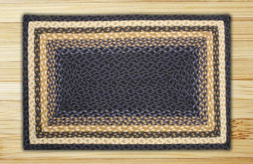 Earth Rugs Rectangle Area Rug, 5 x 8 , Light Dark Blue Mustard