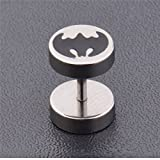 Glucky : Fashion Trendy Stainless Steel Punk Cool Batman Logo Earrings Men Women Studs Piercing For Jewelry Gift