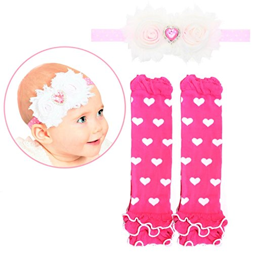 Elesa Miracle Cozy Soft Baby Toddler Leg Warmers and Headband Set (Valentine A) ()