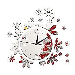 Happy Hours - Stylish Little Flower Wall Clock / Creative DIY Mirror Home Decor Watch / 3D Frameless Wall Sticker Design Bell for Cafe Bedroom Living Room Dormitory(Sliver)