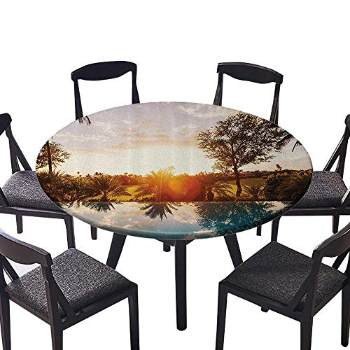 (Picnic Circle Table Cloths Home with Swimming SunTropics Palms Private Villa Resort Indoor or Outdoor Parties 63