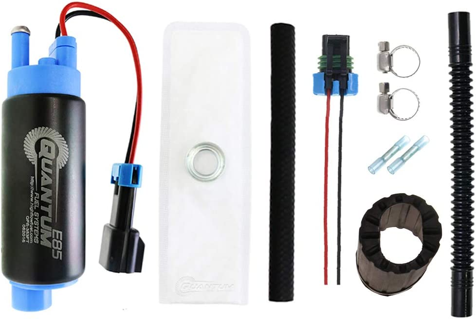 Ethanol Compatible Fuel Pump with Installation Kit QFS-353FT-118 340 LPH E85