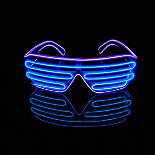 [Aquat Shutter EL Wire Neon Glasses LED Sunglasses Light Up Costumes For Party RB03 (Purple + Blue)] (Four Group Costumes)