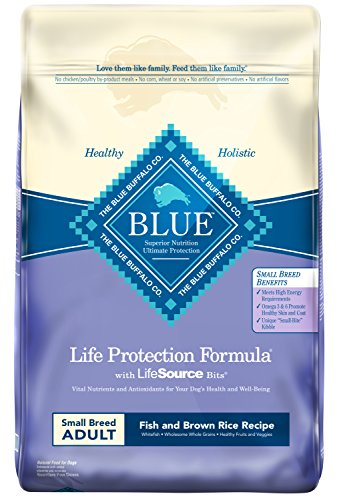 Blue Buffalo Life Protection Formula Small Breed Dog Food – Natural Dry Dog Food for Adult Dogs – Fish and Brown Rice – 15 lb. Bag (Rice Dry Formula Brown)