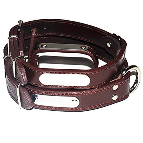 - Personalized Safe Brown Leather Adjustable Dog Collar,Charm Silent Engraved Pet Name&Phone Number Customized Pet ID Tag Anti-Lost Custom Engraving Plate Tag Neck Chain for Small Medium Large Dog Cat