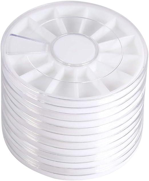 6 Unids/Set 12 Compartimentos Caja de Joyería de Plástico Transparente Organizador de Almacenamiento Gema Rhinestone Caja de Rueda Vacía Contenedor de Almacenamiento Para Decoración de Uñas Perlas: Amazon.es: Belleza
