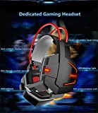 YIFAFESU Gaming Headset Comfortable 3.5mm Stereo Over-ear Headphone Headband with LED Lighting for PC Computer Game With Noise Isolation & Volume Control (Y036-white)