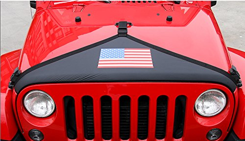Nicebee Canvas Engine Cover Car Head Decoration Hood Cover for Jeep Wrangler JK 2007+ (USA Flag)