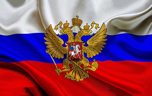 candiway Russian Presidential Banner Flag with Coat of Arms (Imperial Eagle) CCCP Sleeve Large 3x5 Foot