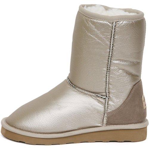New Shiny Waterproof Shearling Womens Winter Snow Warm Boots Shoes Beige zuzmW3Icp