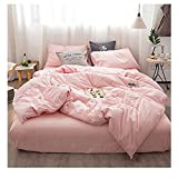queen quilt solid pink - Kiss Tell 3pc Washed Cotton Duvet Cover Set Queen Hotel Simple Soft Solid Color Bedding Set with 1 Duvet Cover 2 Pillow Shams by (Queen, Girls Pink)