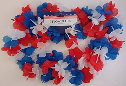 PATRIOTIC AMERICAN FLOWER LEIS Red White & Blue, 38