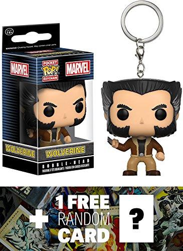 Wolverine: Pocket POP! x Marvel Universe Mini-Figural Keychain + 1 FREE Official Marvel Trading Card Bundle (106405)