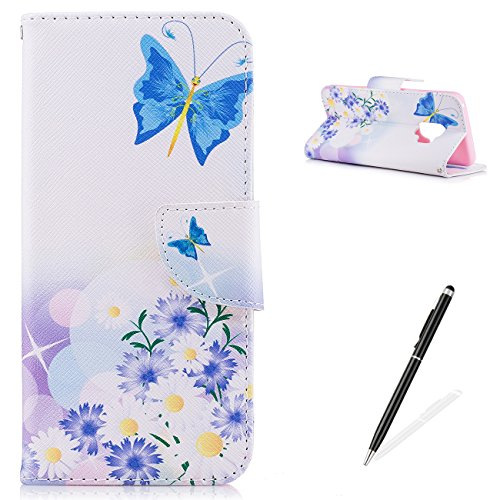 MAGQI Samsung Galaxy S9 Elegant Case,PU Premium Leather Wallet,Magnetic Closure Stand Function and Cute Animal Beautiful Flower Pattern for Samsung Galaxy S9 Cover - Butterfly Floral