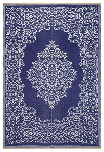Lightweight Indoor Outdoor Reversible Plastic Area Rug - 5.9 x 8.9 Feet - Medallion Oriental Design - Blue/White