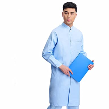 3d031be0d81 Xuanku Doctor Wear Long Sleeved Gown Chinese Collar Dental Clinic Of  Traditional Chinese Clothing White Coat,L,Blue: Amazon.co.uk: Clothing