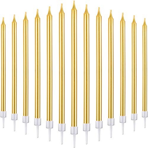Blulu 50 Pieces Birthday Cake Candles Thin Cake Cupcake Candles in Holders for Birthday Wedding Party Cake Decorations Supplies (Long, -