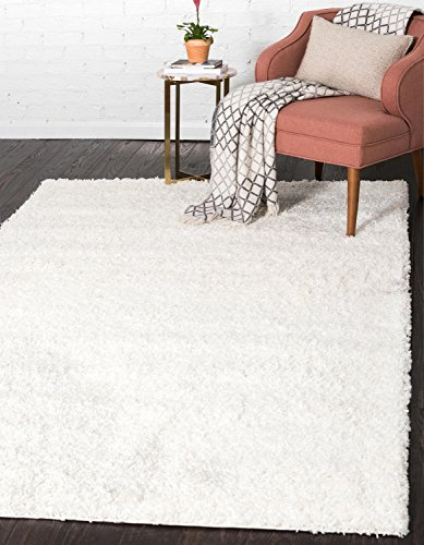 Unique Loom Solo Solid Shag Collection Modern Plush Snow White Area Rug (8' 0 x 10' 0) ()