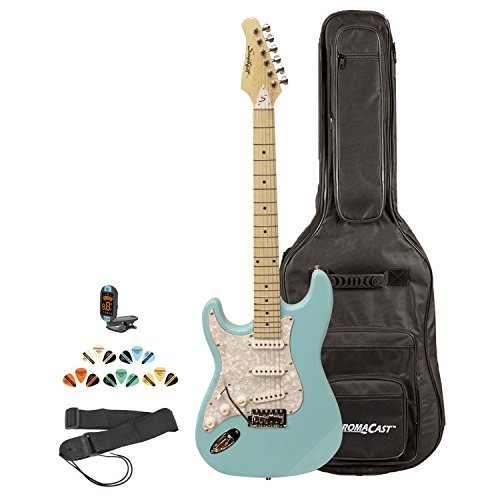 Sawtooth ST-ES-LH-DBLP-KIT-2 Left Handed Electric Guitar in Daphne Blue Pearl White Pickguard, Lesson, Gig Bag, Picks, Tuner and Strap