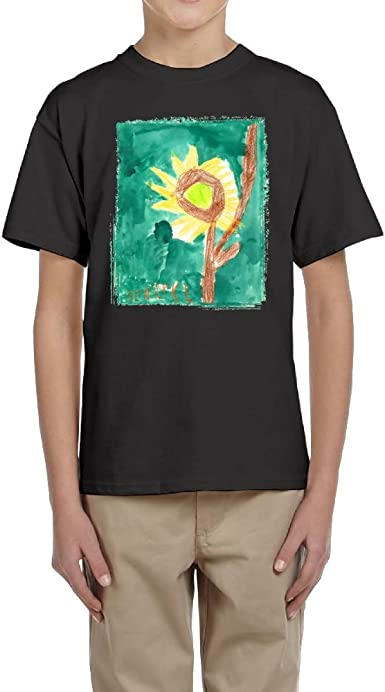 HEZHENHH Teenager T-Shirt Boys Girls Young Short Sleeved Tee Clothing Sunflower