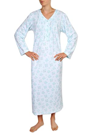 9937a65c19 Miss Elaine Women s Long Nightgown - Brushed Honeycomb Knit Material. with Long  Sleeves and a