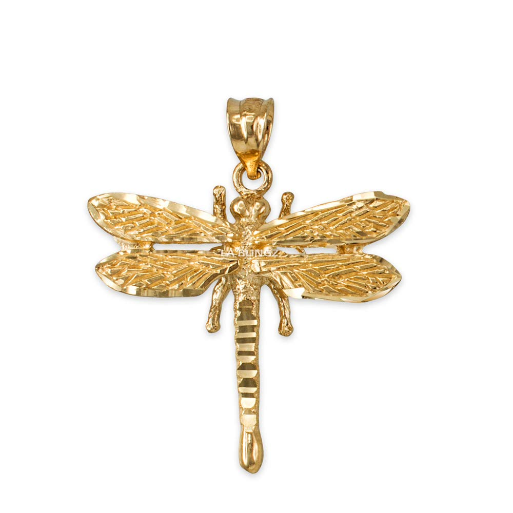 LA BLINGZ 10K Solid Yellow Gold Dragonfly DC Pendant Necklace