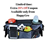 HappyGro Stroller Organizer Bag with Insulated Cup Holders and Removable Shoulder Strap | Chic Polka Dot Design, Lightweight, Heavy Duty Straps, Extra Storage for Phones, Keys and Baby Accessories