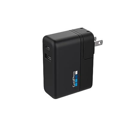 GoPro AWALC-002-ES - Cargador rápido de Puerto Dual Internacional, Color Negro