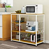 Kitchen Shelves Floor Multi-storey Home Storage Storage Microwave Shelf Shelf Seasonings Oven Rack 904083cm ( Color : Wood color )