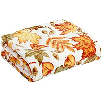 Morgan Home Fall Autumn Forest Leaves Print Throw Blanket, 50-inch X 60-inch
