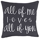 ADecor Pillow Covers All of me Loves All of You Pillowcase Embroidered Pillow cover Decorative Pillow Standard Cushion Cover Gift Love Couple Wedding (18X18, Grey)