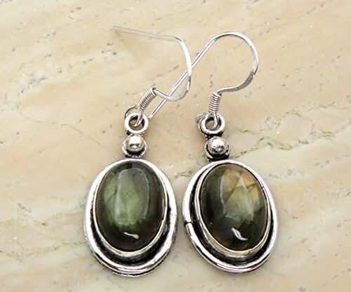12.00 Ctw Genuine Labradorite .925 Silver Overlay Handmade Fashion Dangle Earrings