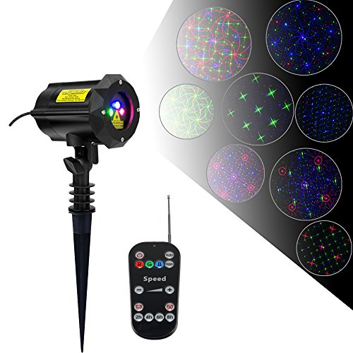 Poeland 8 Patterns Garden Laser Light Moving Firefly Projector Color Blue Green Red with Security Lock