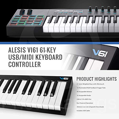 Alesis VI61 61-Key USB/MIDI Keyboard Controller – Basic Accessory Bundle With Keyboard Stand + Cable & More