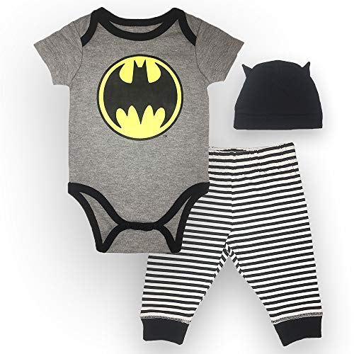 Batman DC Comics Baby Boys Newborn Infants 3 Piece Set Bodysuit Pants and Cap Grey 0-3 Months