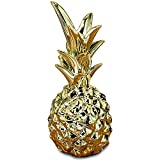 Whole House Worlds The Key West Golden Pineapple, Gift, Table Top Sculpture, Tropical Art, Glazed Ceramic, 7 3/4 Inches Tall, By