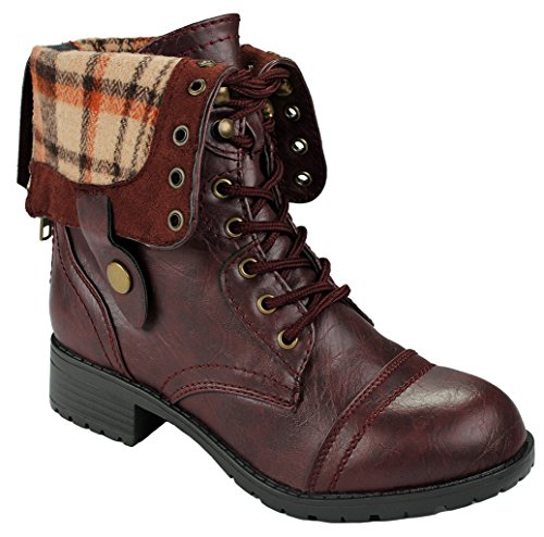 J.J.F Shoes Women Holly-7 Wine Military Combat Foldable Cuff Faux Leather Plaid/Quilted Back Zipper Lace Up Boots-7.5 (Leather Lined Boots Combat)