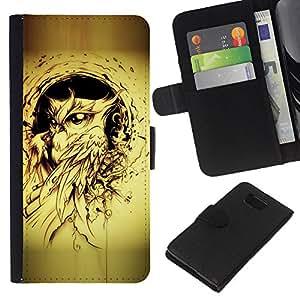 KLONGSHOP // Tirón de la caja Cartera de cuero con ranuras para tarjetas - pájaro búho pintura de tinta negro tatuaje amarilla - Samsung ALPHA G850 //