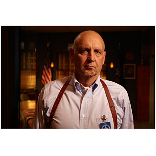 (Justified Nick Searcy as Art in Light Blue Button Down and Gun Holster Serious Expression 8 x 10 inch photo)